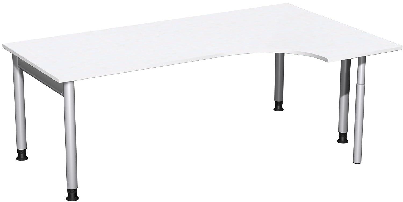Geramöbel PC-Schreibtisch rechts höhenverstellbar, 2000x1200x680-820, Weiß/Silber