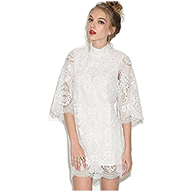 978cfa4ced Size S Women Sweet Hook Flowers Hollow Lace Dress Stand Collar Three  Quarter Sleeve Bodycon Elegant