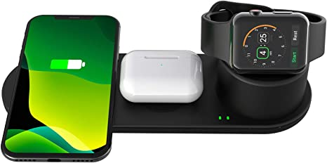 Imagen deSPGUARD Cargador Inalámbrico Compatible con Apple Watch Series 5 4 3 2 1 Airpods Airpods Pro,3 en 1 Estación de Carga Rápida iPhone 11 11 Pro MAX X XS XR 8