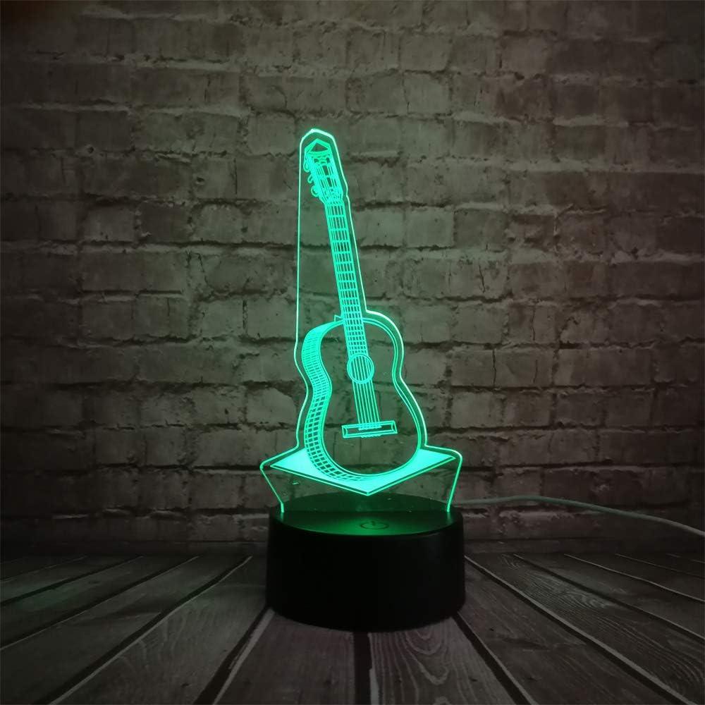 KangYD Música Guitarra 3D Night Light, LED Lámpara de decoración de habitación, Regalo para niños, Luces de colores, B - Color remoto 7 (Base negra): Amazon.es: Iluminación