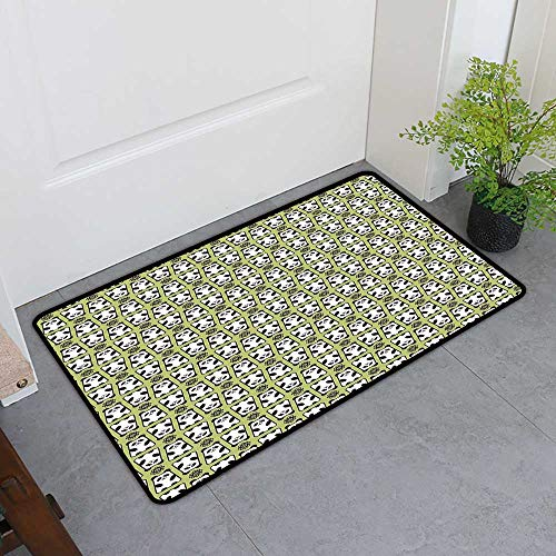 Custom&blanket Magic Doormat, Kids Doormats for High Traffic Areas, Geometrical Up and Down Panda Pattern Daisy Flowers Cute Funny Bears (Pistachio Green Black White, H32 x W48)