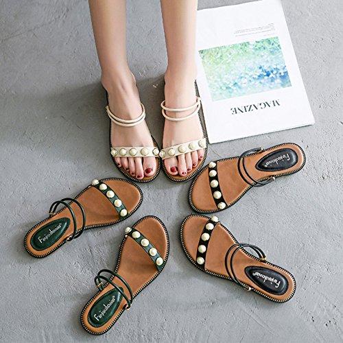 Perle Blanc Sandales Grandes Femmes Mode Chaussures Sandales Green en DANDANJIE Étudiant Été Sandales Taille Noir Pantoufles Plein Air Vert PtqOdwxa