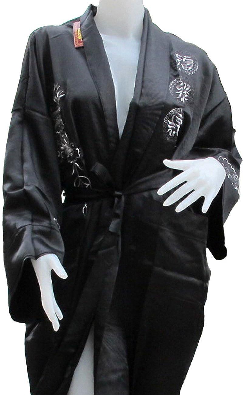 Authentic Oriental Dragon Kimono Thai Silk HUGE DRAGON KIMONO/_103 Black on Black Color Mr Reversible