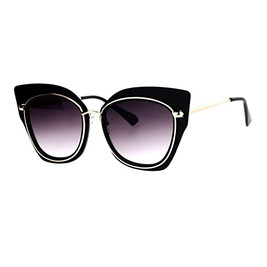 345d989105 Oversized Womens Sunglasses Big Square Butterfly Double Frame UV 400 Black  Gold