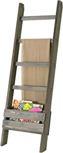 MyGift 4-Rung Vintage Gray Solid Wood Wall-Leaning Towel or Blanket Ladder Rack with Magazine Holder Basket Organizer Slot