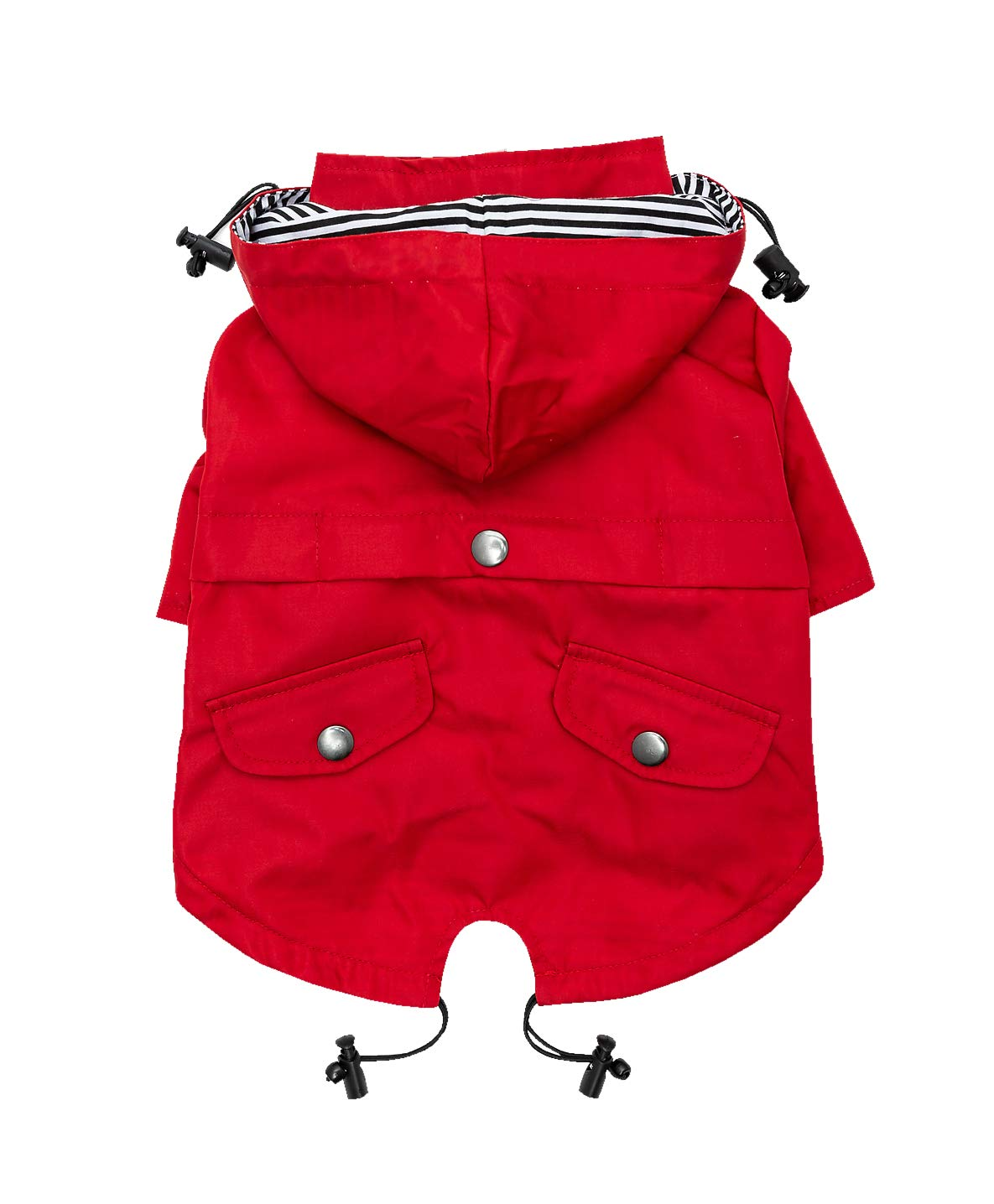Ellie Dog Wear Red Zip Up Dog Raincoat with Reflective Buttons, Pockets, Rain/Water Resistant, Adjustable Drawstring, Removable Hoodie - Size XS to XXL Available - Stylish Premium Dog Raincoats (M) by Ellie Dog Wear (Image #2)