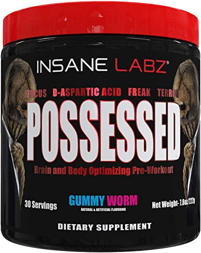 Insane Labz Possessed Low Stimulant Testosterone Boosting Pre Workout Powder, Loaded with D Aspartic Acid and Creatine Fueled by AMPiberry and OXYgold, 30 Srvgs, Gummy Worm