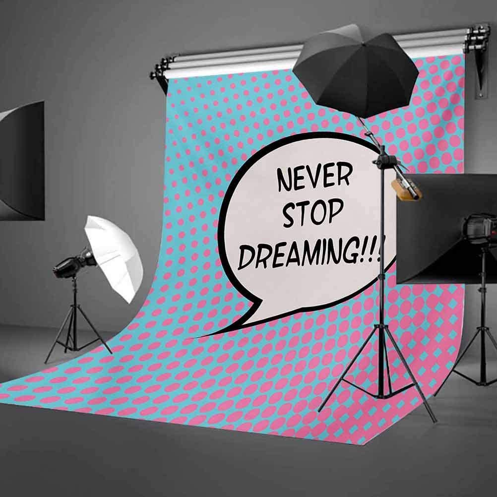 Quote 10x15 FT Photography Backdrop Retro Never Stop Dreaming Pop Art Thinking Bubble Ombre Digital Polka Dots Motivation Background for Baby Shower Bridal Wedding Studio Photography Pictures