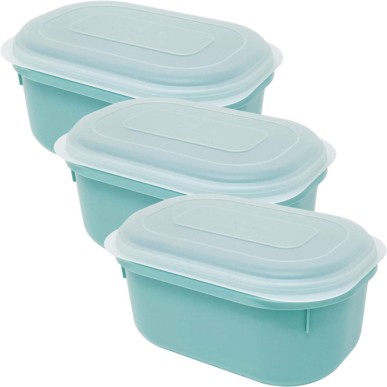 Codil 3×Recipientes de Almacenamiento,Envases Cocina,Contenedores Reutilizables,Fiambreras de Plástico,Ovalado con Tapas Flexibles,para Congelar Almacenar y Mantener Alimentos Frescos,Verde,2.6L