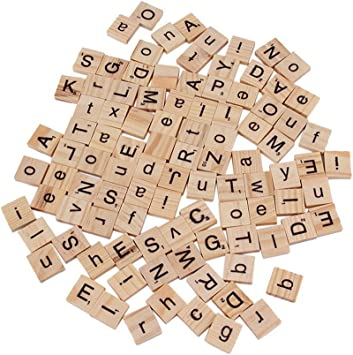 100 LIGHT WOODEN SCRABBLE TILES BLACK LETTERS NUMBERS FOR GAMES WOOD ALPHABETS