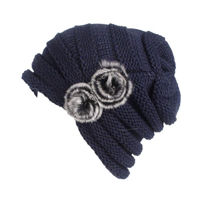 Boomly Mujer Sombrero de Tejer Beanie Calentar Gorra de esquí de Invierno  Elástico La Cobertura Sombrero de pompón Ski Snowbord Outdoor (Azul  Marino)  ... 9070f5087e0