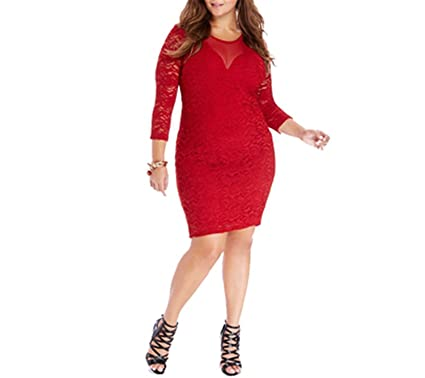 98fa990a1e7 OnIn Fashion Women Bodycon Lace Dress Plus Size Vestidos Slash Long Sleeve  O-neck Sexy Short Slim Large Size Clothing at Amazon Women s Clothing store