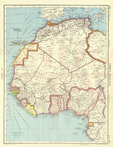 Amazon.com: AFRICA. French West Africa. Rio de Oro Rio Muni ... on map of gozo island, map of hainan island, map of symi, map of isle of pines, map of bhutan, map of tahaa, map of gambia, map of togo, map of algeria, map of tristan da cunha, map of reunion, map of singapore, map of banks island, map of mongolia, map of ascension, map of latvia, map of central african republic, map of kalymnos, map of southwest nigeria, map of bahrain,