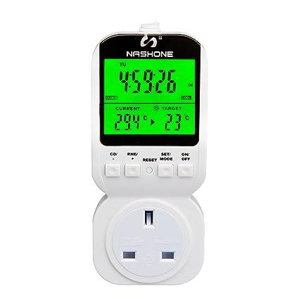 Interruptor digital marca Nashone electrónico programable con temporizador semanal para termostato (MTS 400