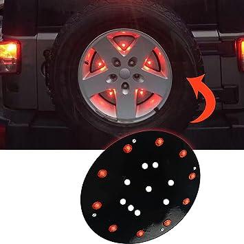 maiker LED Tercera Luz De Freno Jeep rueda de repuesto luz fácil de instalar y desconexión rápida para un Jeep Wrangler rueda de repuesto trasera luz: ...