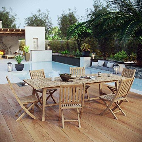 Modway EEI-3309-NAT-SET Marina Premium Grade Wood Patio Teak Outdoor Dining Set, 7 Piece, Natural