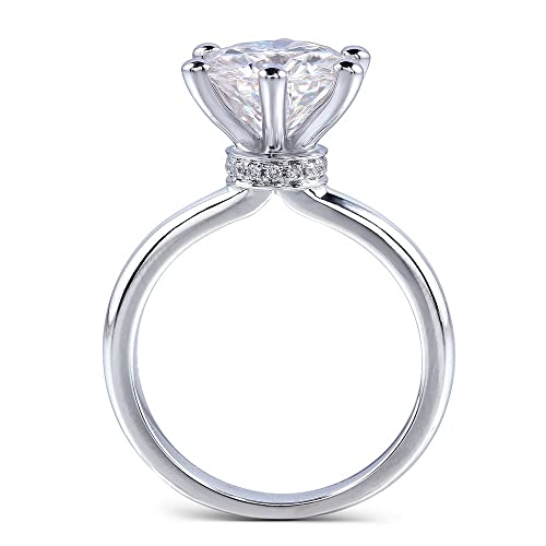 White gold, 3CTW Colorless (DE) Moissanite Wedding Ring with Natural Diamond Accent by TransGems