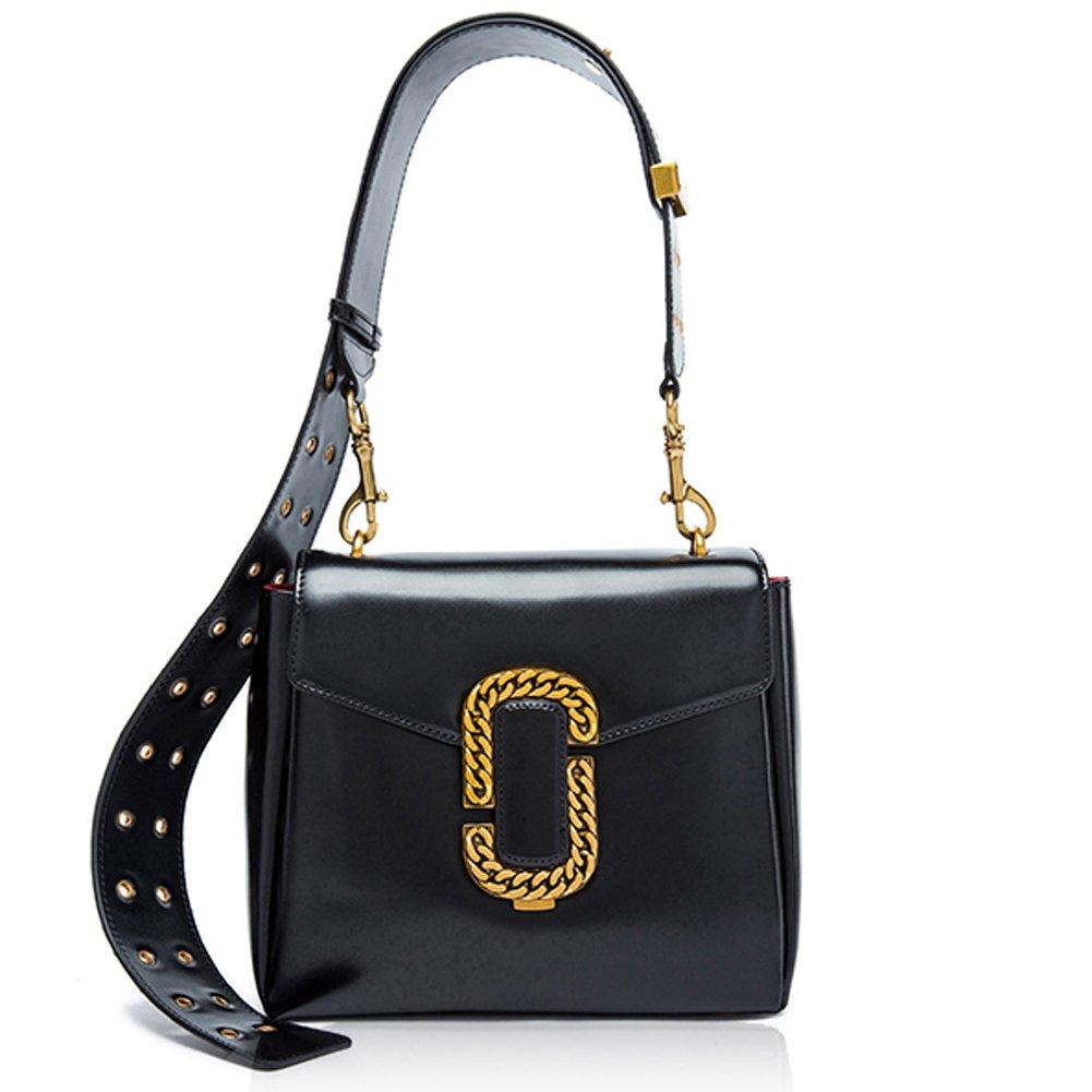 Amazon.com  MACTON Women Shoulder Bag Wide Shoulder Strap Retro Leather  Messenger Bag MC-5026 (20CM Black)  Shoes 039808c3dc19f