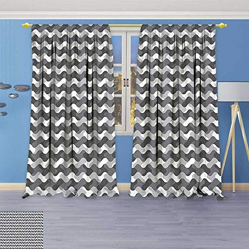 Room Darkening Grommet Window Curtains,Gradient Wavy Flat Lines Influences Retro Stylized Print Smoke White, Set of Two Panels
