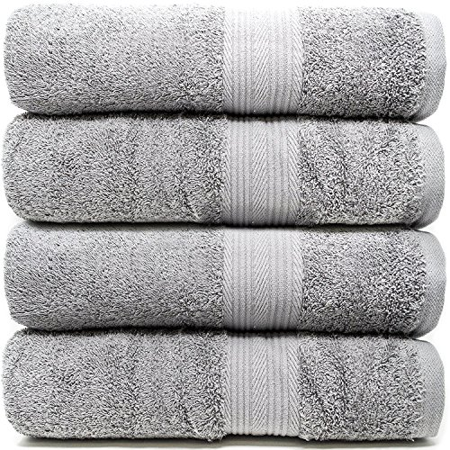 Zeppoli 4-Pack Bath Towels Set  100% Cotton Grey Towels - Mi
