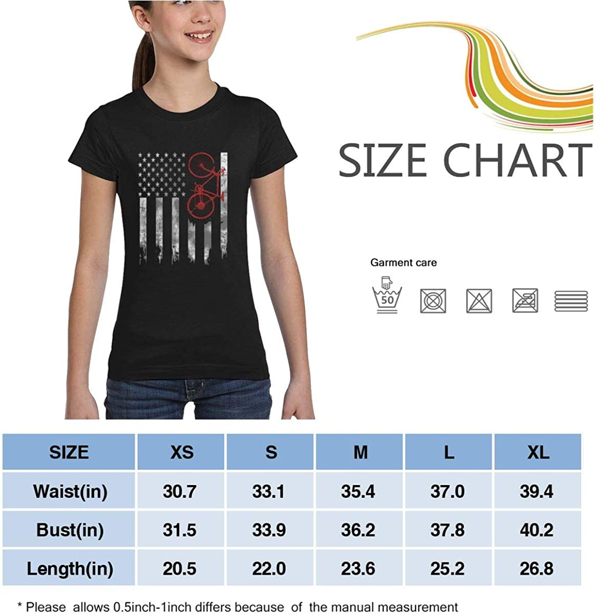 Girls Short Sleeve Bicycle Flag Shirts Casual Blouse Clothes XS-XL