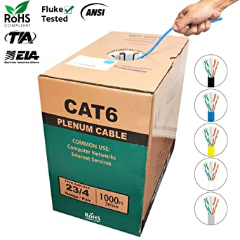 1000ft Cat6 Plenum Solid Bulk Cable UTP CMP 23AWG 550Mhz Yellow Blue Black White