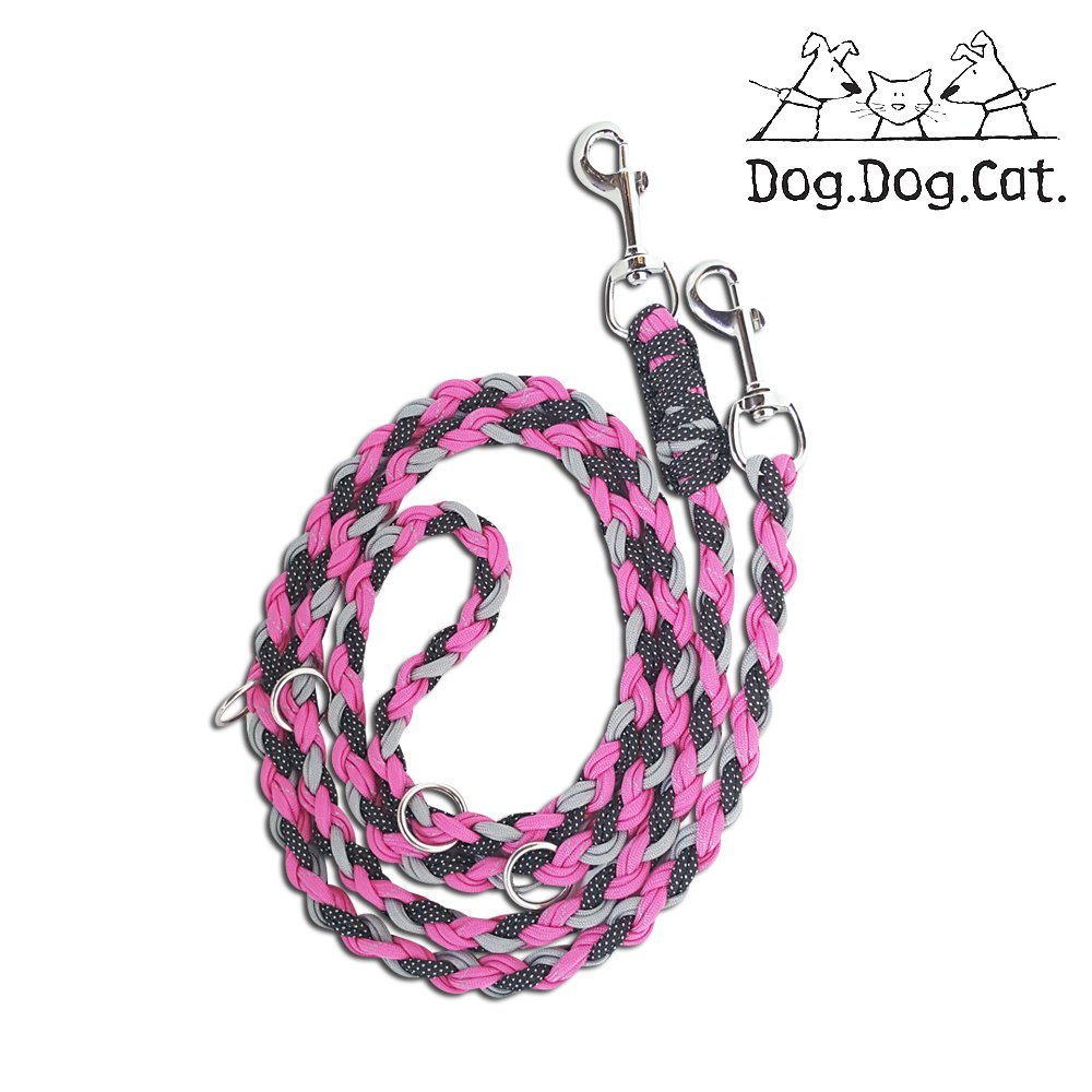 Paracord double ended Versatile hands-free dog walking or training leash (6 foot adjustable, Pink/Grey Reflective)