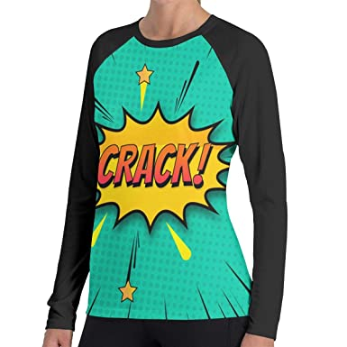 For Shirt Casual Crack Long Comic Sportss T Tops Sweatshirts Background Woman's Sleeve Contrast R8PS8x