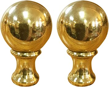 Vintage Brass Lamp Finial Pair// 2 inch Antique