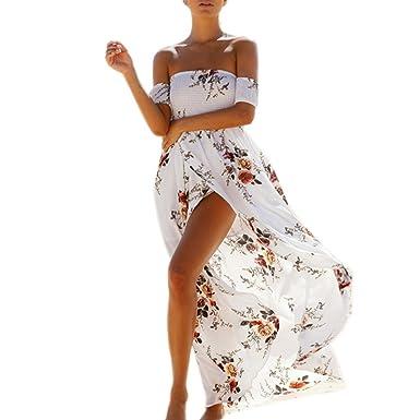 e17e5e8693c Subfamily Meilleure Vente de Plage Soirée Casual Imprimé Fleurie Mode  FendueCol Bateau Épaules Femme Robe Longue