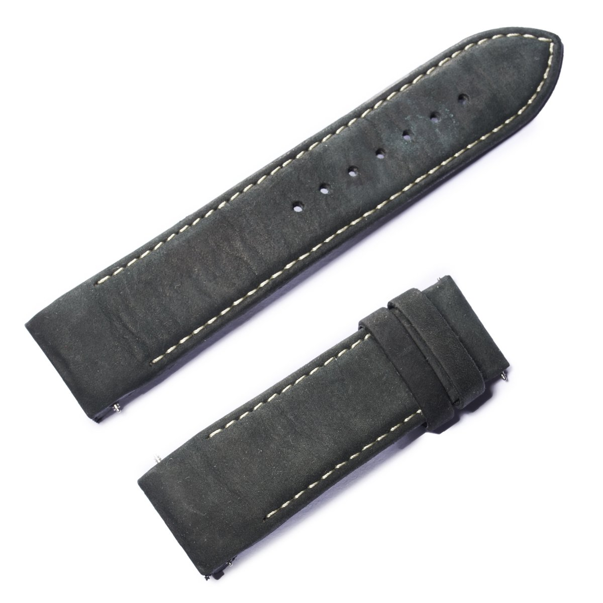 REEF TIGER RT 24mm Width Black Leather Watch Strap Black Genuine Leather Watch Wristband for Men RGA703