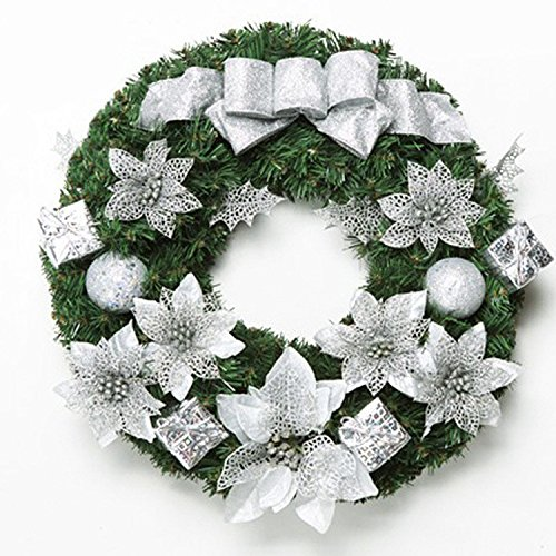 Christmas Garland for Stairs fireplaces Christmas Garland Decoration Xmas Festive Wreath Garland with Christmas wreath,50cm silver garland by Caribou Furniture And Decor