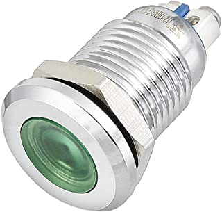 uxcell LED Indicator Light DC 12V 12mm Red Metal Shell Pilot Custom Dash Signal Lamp Concave Head