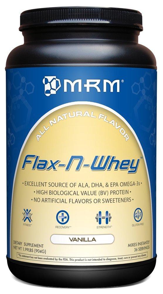 MRM - Flax-N-Whey, Protein & Flax Seed All Natural Supplement, Source of ALA, DHA & EPA Omega-3 Fatty Acids (Vanilla, 1.99 lbs)