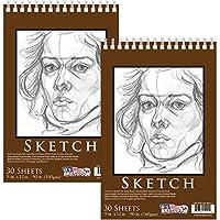 "U.S. Art Supply 9"" x 12"" Premium Heavy-Weight Paper Spiral Bound Sketch Pad, 90 Pound (160gsm), Pad of 30-Sheets"