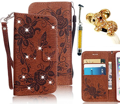 Samsung Galaxy S7 Edge SM-G935F Case,Vandot 3in1 Set Premium [Emboss Flower Butterfly] PU Leather Bling Diamond Rhinestone Wallet Case with Wrist Strap Flip Folio Stand Magnetic Closure Cover Skin Shell-Brown