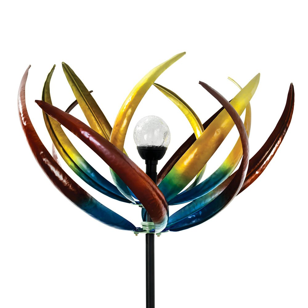The Original Solar Multi-Color Tulip Wind Spinner-Solar Powered Glass Ball Emits Color-Changing Light - Made of Metal and Steel