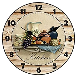 Upuptop Modern Home Decor Quiet Sweep Movement Kitchen Round Wood Wall Clock Fruit Ceramics 14inch