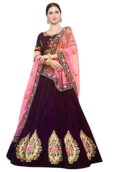 6eb61fcc4b Attire Design Women's Cotton Silk Embroidery Lehenga Choli with Blouse  Piece (Free Size, Wine & Pink): Amazon.in: Clothing & Accessories