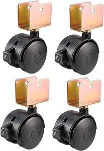 uxcell 1.85 Inch Swivel Caster Wheels 22mm U-Bracket Furniture Caster Twin Wheel Black with Brake, 4pcs