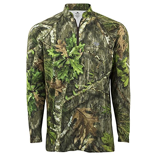 Mossy Oak Hunting Clothes - Mossy Oak Lightweight Hunting 1/4 Zip Shirt, Obsession, 2X