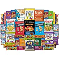 Healthy Snacks Care Package - Variety Assortment of Popcorn, Chips, Nuts, Bars, Fruit Snacks (40 Count)