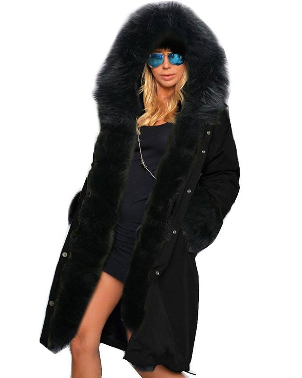 OMONSIM Women Winter Warm Thick Faux Fur Coat Outdoor Hood Parka Long Jacket Size 8-18 (10, Black)