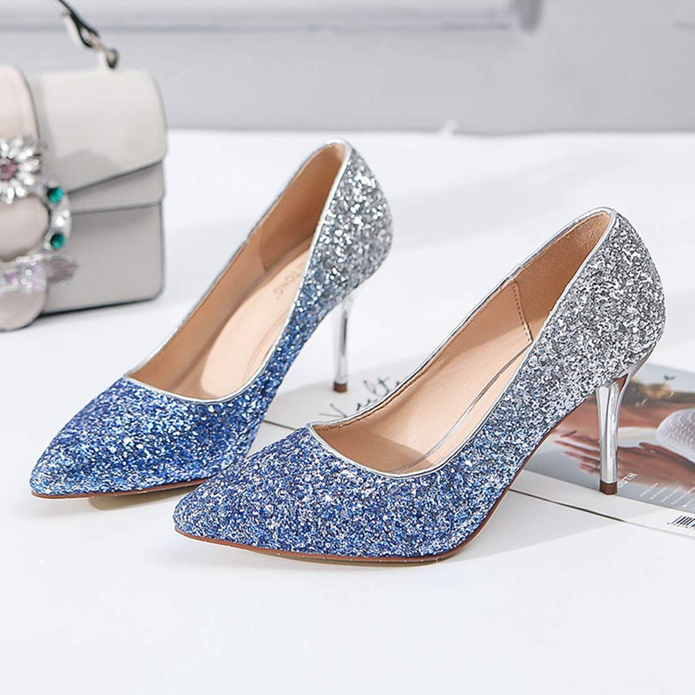 CYBLING Women's Glitter Gradient Stiletto High Heels Pumps Slip Pointed On Closed Pointed Slip Toe Wedding Dress Shoes B07GR6RTM5 4.5 M US|Blue 28beeb