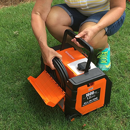 Yard Force pressure washers come with a compartment to store other accessories