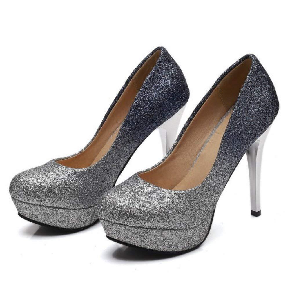 Qiusa Frauen Frauen Frauen Slip On Court Schuhe Spike Ferse d86cad