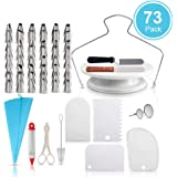 73 PCS Cake Decorating Supplies Kit, AUOKER Rotating Turntable Stand, 48 Numbered Icing Tips, Piping Bags, Decorating Pen, Spatula, Couple for Barking