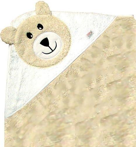 Zigozago - Toalla de baño con capucha para bebés Osito Color Beige