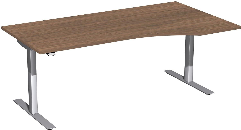 Geramöbel Elektro-Hubtisch rechts höhenverstellbar, 1800x1000x680-1160, Nussbaum/Silber