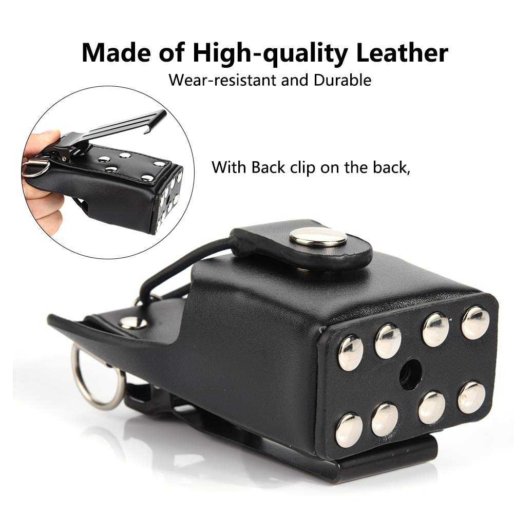 Bewinner Leather Radio Bag Leather Case Cover for Motorola GP328plus//GP338plug//GP344//GP388 Walkie Talkie Radio with Lanyar Radio Pouch Back Clip PU Leather Walkie Talkie Carrying Case